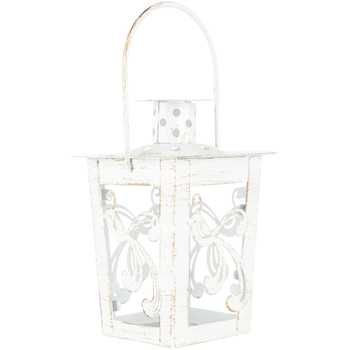 White & Gold Distressed Bird Lantern